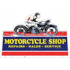 Motorcycle Shop Cutout tin metal sign