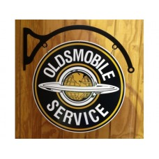 Oldsmobile double sided round and hanger tin metal sign