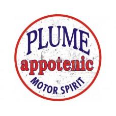 Plume Appotenic Motor Spirit large round tin metal sign