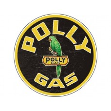 Polly Gas Round large single sided tin metal sign