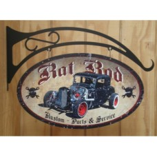 Rat Rod Double Sided tin metal sign