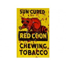 Red Coon Chewing Tobacco tin metal sign