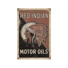 Red Indian Motor Oils tin metal sign