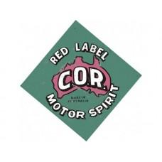 C.O.R Red Label tin metal sign
