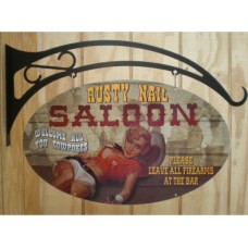 Rusty Nail Saloon Double Sided tin metal sign