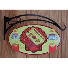 Shell Oval and hanger tin metal sign