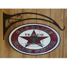 Texaco double sided tin metal sign