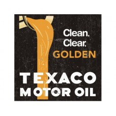 Texaco Motor Oil Gold tin metal sign