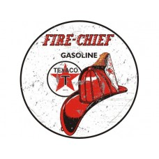 Texaco Fire Chief Large Round tin metal sign