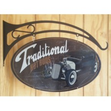 Traditional Hot Rods Double sided tin metal sign