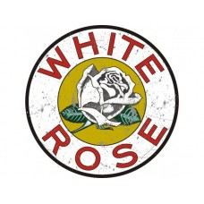 White Rose large round tin metal sign