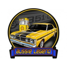 Aussie Legends Ford GTHO Yellow tin metal sign