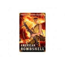 American Bombshell tin metal sign