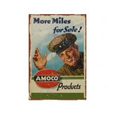 Amoco More Miles tin metal sign