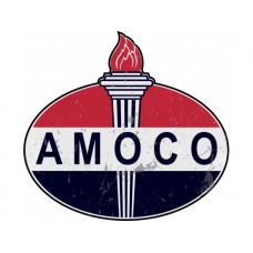 Amoco tin metal sign