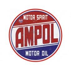 Ampol Large Round tin metal sign