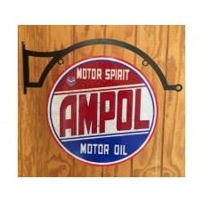 Ampol large round wih hanger tin metal sign