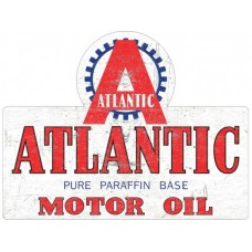 Atlantic Die Cut tin metal sign