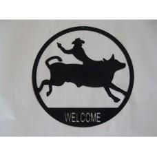 Steel Silhouette of Bucking Bull tin metal sign
