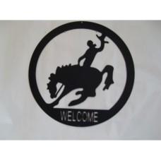 Steel Silhouette Bucking Horse tin metal sign