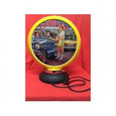 Petrol Bowser Globe and Base CarHop illuminated sign