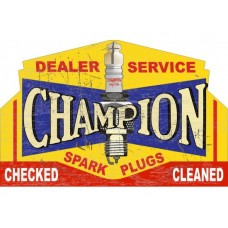 Champion Dealer Service tin metal sign