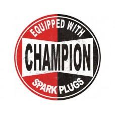 Champion Large Round tin metal sign