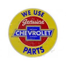 Chevrolet Genuine Parts round tin metal sign