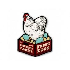 Chicken Fresh Eggs tin metal sign