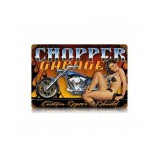 Chopper Garage tin metal sign