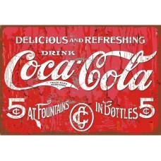 Coca Cola Delicious tin metal sign