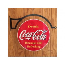 Coca Cola Drink Red Large Round Double Sided and hanger tin metal sign