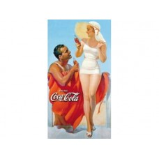 Coke Man & Woman Beach tin metal sign