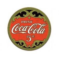 Coke-Round 5 Cents tin metal sign