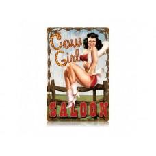 Cowgirl Saloon Pinup Girl tin metal sign