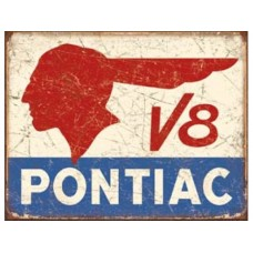 Pontiac V8 tin metal sign