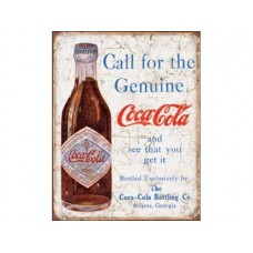 Coke Call for Genuine tin metal sign