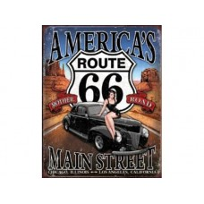 Route 66 America's Main Street tin metal sign