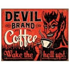 Devil Brand Coffee tin metal sign