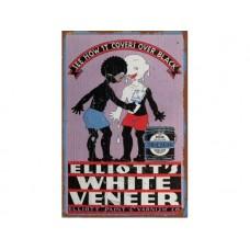Elliotts White Veneer tin metal sign
