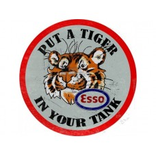 Esso Tiger in your Tank round tin metal sign