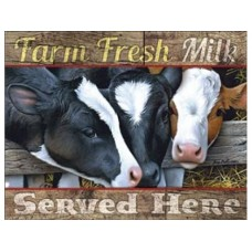 Farm Fresh Milk tin metal sign