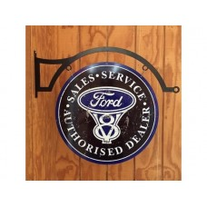 Ford V8 large round with hanger tin metal sign