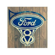 Ford V8 double sided with hanger tin metal sign