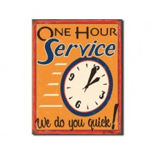 Moore - One Hour Service tin metal sign