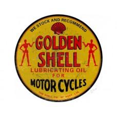 Golden Shell Motor Cycle tin metal sign