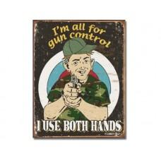Schoenberg-Gun Control tin metal sign