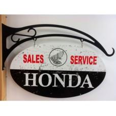 Honda oval and Hanger tin metal sign