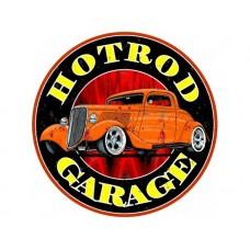 Hot Rod Garage Round tin metal sign