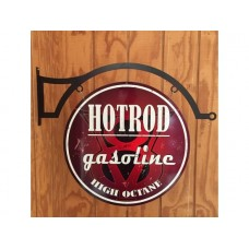 Hot Rod Gasoline Large Round with hanger tin metal sign